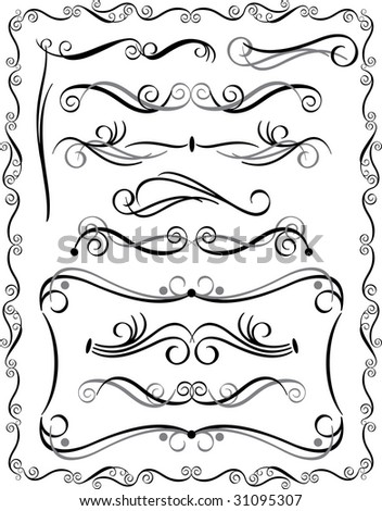 Bitmap collection #3 of decorative border elements. Vector also available. - stock photo