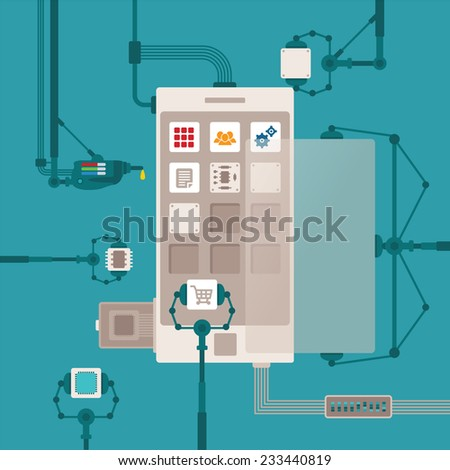 bitmap concept of mobile software application development process for smart phones - stock photo