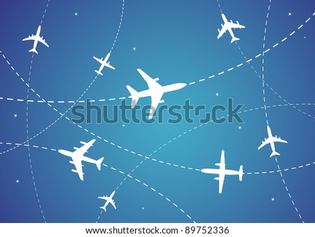BItmap Illustration of Airplane Routes And Stars - stock photo