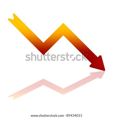 Bitmap Illustration of Arrow Indicating Financial Decline - stock photo