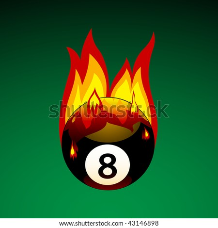 Bitmap Illustration of Pool Ball No. 8 on Fire - stock photo