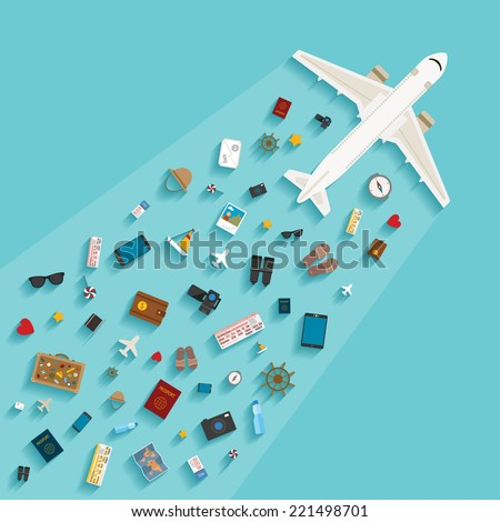 Bitmap modern flat style concept for tourism industry, travelling on airplane, planning summer vacations. - stock photo