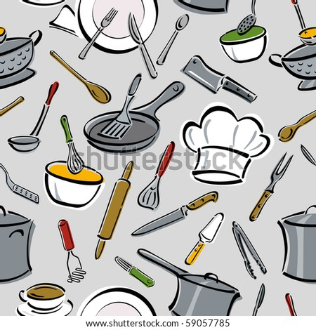 Bitmap seamless pattern of kitchen tools. - stock photo