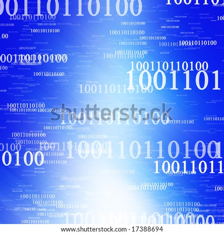 Bits and bytes blue background