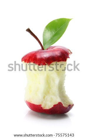 Bitten Apple Core on White Background - stock photo