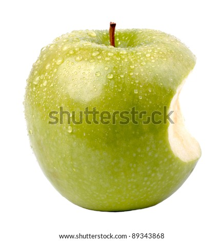 Bitten apple isolated on white background - stock photo
