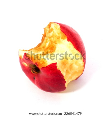Bitten apple isolated on white background. Apple core close-up. - stock photo