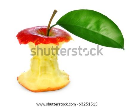 Bitten apple on isolated - stock photo