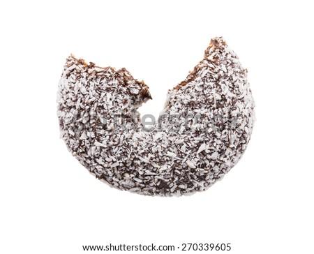 bitten coconut coated chocolate donut - stock photo