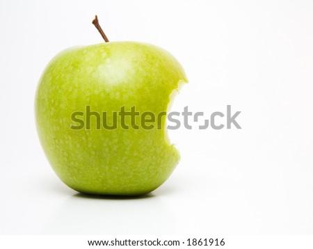 Bitten green apple - stock photo
