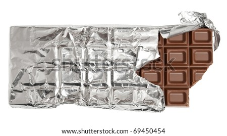 Bitten milk chocolate bar - stock photo