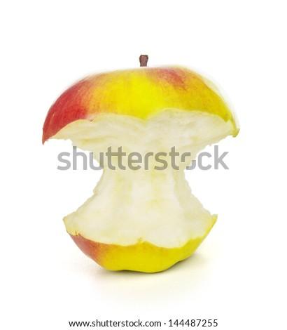 bitten off apple on white background - stock photo