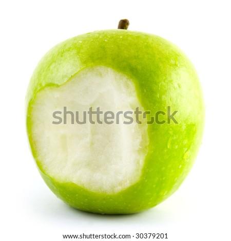 bitten off green apple - stock photo