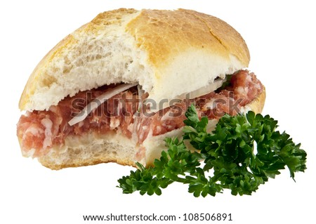 Bitten off roll with minced pork isolated on white background