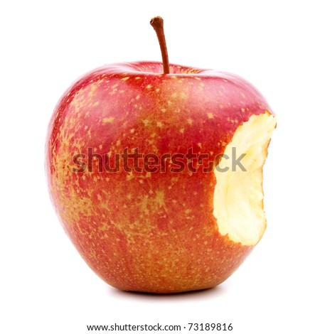 Bitten Red Apple Isolated on White - stock photo