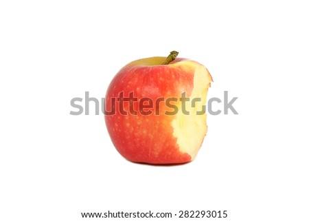 Bitten Red apple on white background. - stock photo