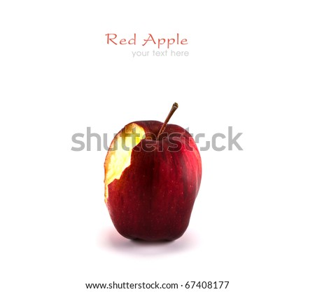 Bitten red apple on white background with copy space. - stock photo
