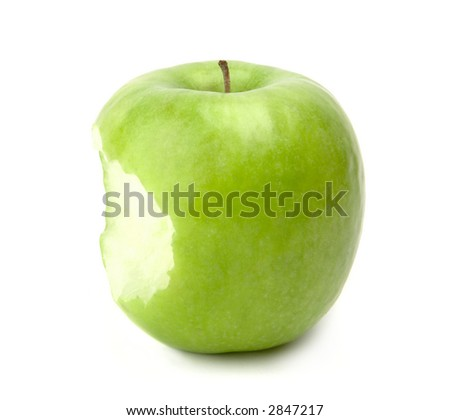 Bitten ripe apple isolated on white background - stock photo