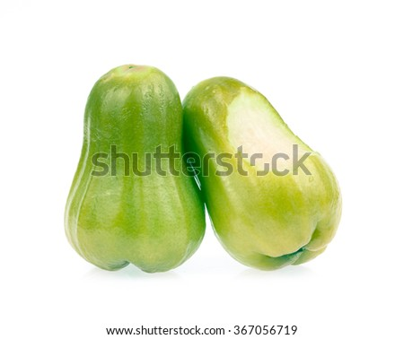 bitten Rose apples isolated on white background - stock photo