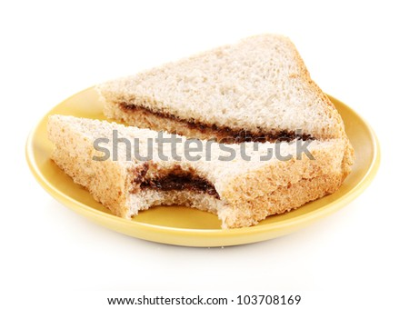 Bitten sandwiches with chocolate on plate isolated on white