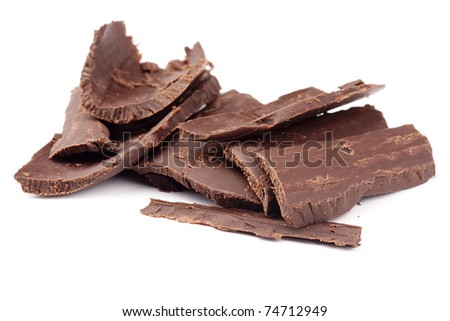 Bitter chocolate in a large crumb on a white background. - stock photo