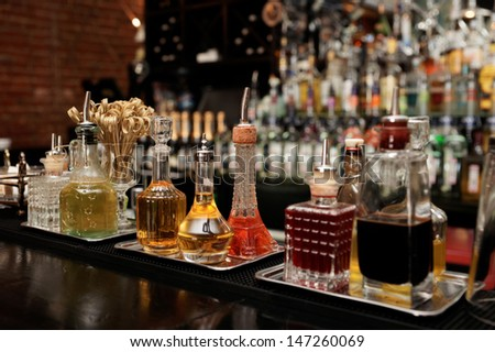 Bitters and various infusions on bar counter
