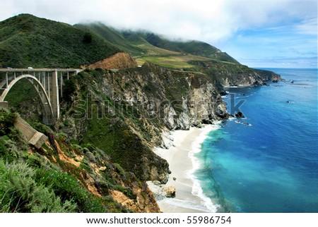 Bixby Bridge on California's Big Sur - stock photo