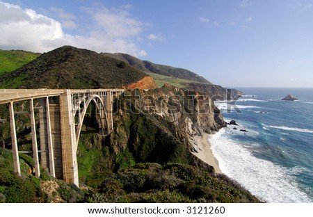 Bixby Bridge on the Big Sur Coast of California - stock photo