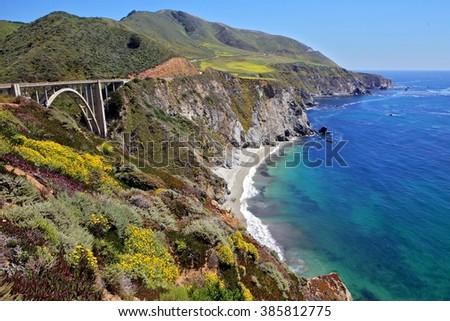 Bixby bridge on the Big Sur road - stock photo