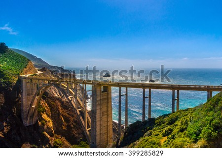 Bixby Creek Bridge on Highway #1 at the US West Coast traveling south to Los Angeles - stock photo