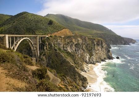 Bixby Creek Bridge on the West Coast Highway in California - stock photo
