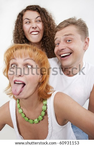 Bizarre family, parents with their grown-up daughter. - stock photo