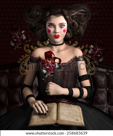 Bizarre girl with open book - stock photo