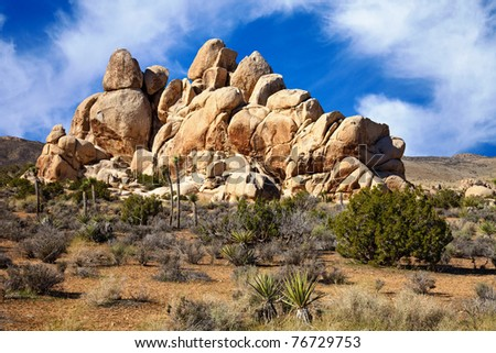 Bizarre rock formations in the Mojave Desert part of Joshua Tree National Park, California. - stock photo