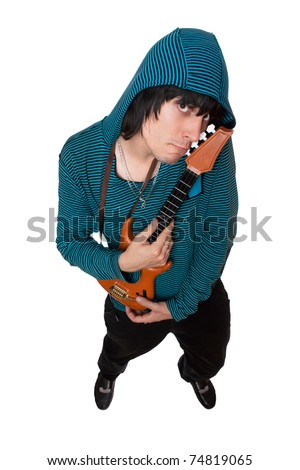 Bizarre young man with a little guitar. Isolated