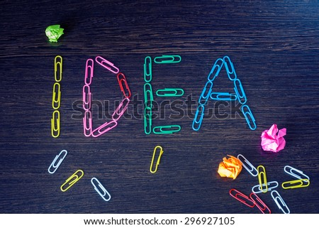Biznes.New idea concept from paper clips. - stock photo