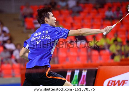 BKK,THA-Nov3:Tzu Wei Wang during their men's singles final match against Kwang Hee Heo the badminton SCG BWF World Junior Championships at national stadium Hun-Mak on NOVEMBER3,2013in Bangkok,Thailand