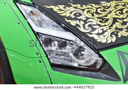 BKK. THAILAND-JUNE 23 : Status of decorate, design of racing car in Bangkok International Auto Salon 2016, 23-26 June 2016 at Bangkok, Thailand. Event of decoration & modify car of Thailand and Japan. - stock photo