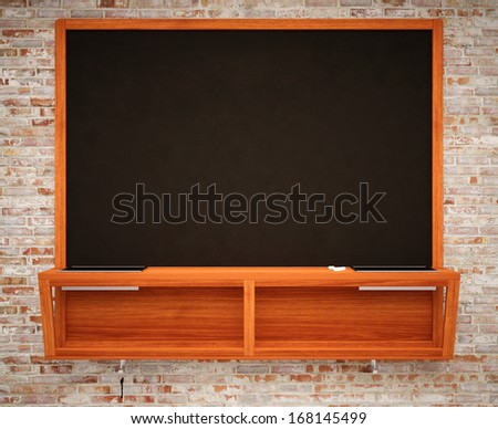 BlaBlank Black School Chalk Boardnk on brick wall