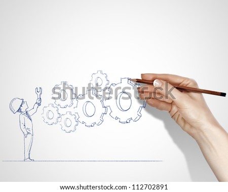 Blach and white drawing about construction business - stock photo