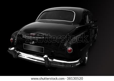Black a retro the car on a white background - stock photo
