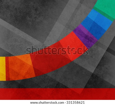 black abstract background with angles shapes and lines pattern, and bright contrasting color stripe or curved line of vibrant blocks of red blue green purple orange and  yellow, with red border - stock photo