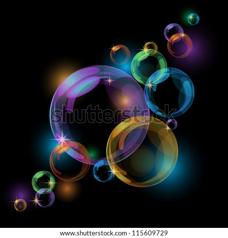Black abstract background with transparent bubbles. - stock photo
