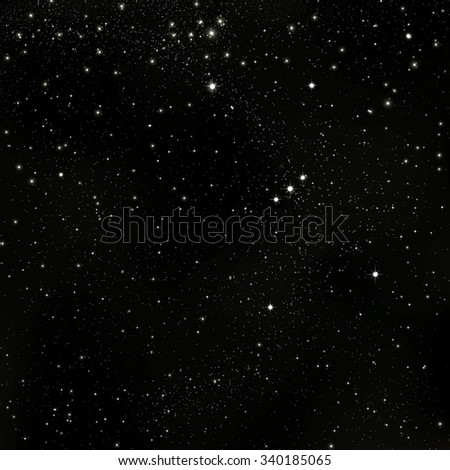 Black Abstract Cosmos, Universe Background Illustration with Orion Constellation and Starry Orbit - Infinity Star Field Sky - Graphic Backdrop - Dark Sky. - stock photo