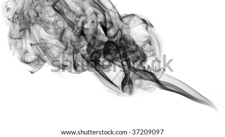 Black abstract fume curve over white background