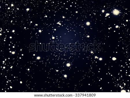 Black Abstract  night cosmic background with Defocused Bokeh twinkling lights - stock photo