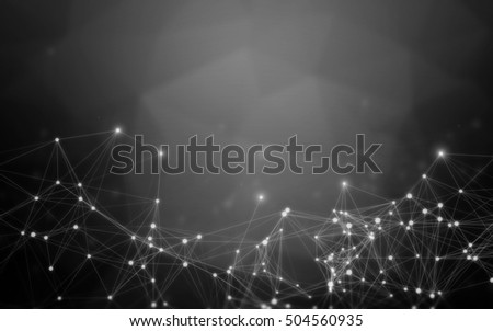 Black Abstract Polygonal Space Background with White Connecting Dots and Lines | Network - Data Visualization Illustration