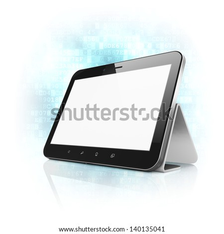 Black abstract tablet computer (tablet pc) with stand on digital background, 3d render. Modern portable touch pad device with white screen. - stock photo