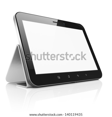 Black abstract tablet computer (tablet pc) with stand on white background, 3d render. Modern portable touch pad device with white screen. - stock photo