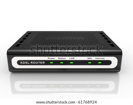 black ADSL router on a white background